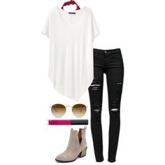 black jeans by helenhudson1 on Polyvore featuring rag & bone, Frame Denim, Free People, Jeffrey Campbell, Ray-Ban, NARS Cosmetics, women's clothing, women's fashion, women and female