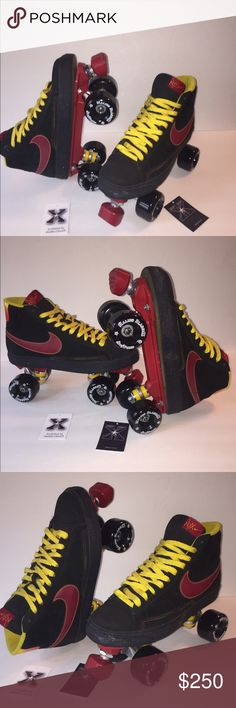 Nike Blazer NYX Custom Sneaker Roller skates Retro inspired, custom designed, sneaker roller skate. Custom Designed for fitness, fashion and fun! Designed by professional skater and nationally certified sports and fitness trainer, Stacey Blitsch. Built by top skate manufacture, Sure Grip, crafted with new lightweight skate hardware. Malibu ClassiX Sneaker Rollerskates roll indoor or outdoor for a great 600 cal/hour workout!! Men's size 10 Nike Shoes Sneakers