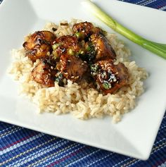 Healthy Sesame Chicken - chicken breasts, soy sauce, sugar, sesame oil, scallions, flour, s/p