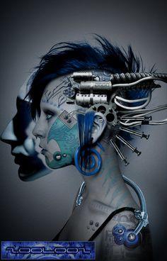 womans head robotics artwork gray grey black silver turquoise colors February 2015