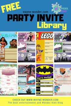Wayne Wonder Party Invite Library