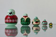 zombie stacking dolls in ugly x-mas sweaters