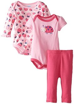 BON BEBE BabyGirls Newborn Ladybug Double Bodysuit Set with Leggings Multi 03 Months -- You can find out more details at the link of the image.Note:It is affiliate link to Amazon.