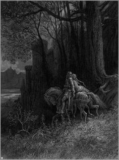 Gustave Dore (France 1832-1883)-Idylls of the King, Geraint and Enid ride away Gustave Dore, Saint Dominique, Roi Arthur, Arte Horror, Art Et Illustration, Book Illustrations, Art Database, Wood Engraving, French Artists