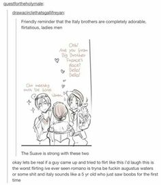 """Italy twins are """"smooth"""". There's a reason the lady just says """"ummm""""<--- X D Lmao. So very smooth. Hetalia"""