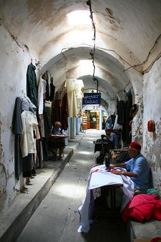 Tailors working in a Djerbas Bazar - Tunisia, Africa