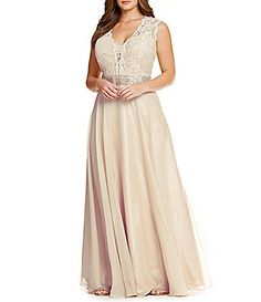 VM by Mori Lee Plus Lace Chiffon Gown #Dillards