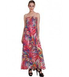 Off Shoulder  Printed  Dress With Smocking At Bust