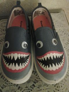 These shoes are designed for children who love sharks. Make your childs feet look like sharks! Childrens hand painted Shark shoes are painted