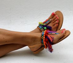 """Sandals """"Jelly Tots"""" (handmade to order) Tie Up Sandals, Grey Sandals, Tie Dye Shoes, Dyed Shoes, Jelly Tots, Boho Shoes, Women's Shoes, Crystal Shoes, Colorful Shoes"""