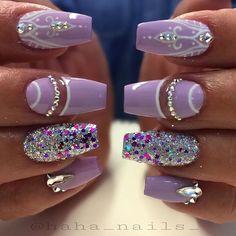 Glitter from @glitter_heaven_australia #lavendernails #youngnails #hahanails… Nail Design, Nail Art, Nail Salon, Irvine, Newport Beach