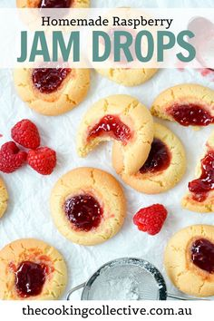 Homemade jam drop biscuits are an old-fashioned childhood favourite! Soft and buttery vanilla biscuits topped with a sweet raspberry jam filling, these easy cookies are made with only 6 easy pantry ingredients and can be ready in 20 minutes. These jam drops make the perfect sweet afternoon tea treat to share with a cuppa. Try them for your next baking adventure!