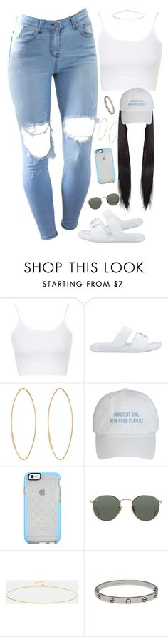 """""""Hey hey hey"""" by daisym0nste ❤ liked on Polyvore featuring beauty, Topshop, NIKE, Lana, Ray-Ban, ASOS and Cartier"""