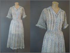 1950s Sheer Chiffon Shirtwaist Dress with Full by dandelionvintage
