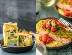 Herb Crusted Salmon with Goat Cheese Polenta is our favorite easy healthy recipe! So much flavor in the basil crusted salmon, tomatoes, and creamy goat cheese polenta! Delicious seafood recipe! Salmon And Polenta Recipe, Herb Crusted Salmon Recipe, Polenta Recipes, Savoury Recipes, Easy Salmon Recipes, Super Healthy Recipes, Seafood Recipes, Most Nutritious Foods, Nutrient Rich Foods