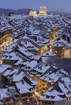 silent night, winter wonderland, old town, switzerland, travel