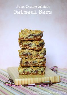 Sour Cream Raisin Oatmeal Bars...This old-fashioned favorite starts with an oatmeal crust followed by a cooked sour cream and raisin filling that ends with buttery crumbs gracing the top. Three-layers of irresistible decadence.
