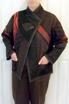 This fabric collage jacket combines 12 different fabrics in wool, silk, rayon, cotton, poly and acetate.