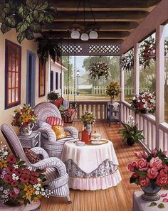 A 154 pieces jigsaw puzzle from Jigidi Beautiful Homes, Beautiful Places, Cottage Art, Country Art, Stitch Design, Porch Decorating, Beautiful Paintings, My Dream Home, Diy Home Decor