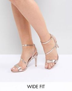 ccc6e104f14b Shop Faith Wide Fit Delly Rose Gold Heeled Sandals at ASOS.