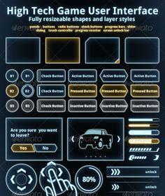 High Tech UI Set - User Interfaces Web Elements