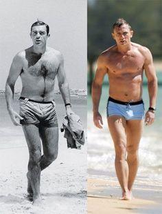 James Bond then and now. Sean Connery and Daniel Craig. Daniel Craig è senza peli. Non è un vero uomo 😤 James Bond Style, Cinema Tv, James Bond Movies, Bond Girls, Daniel Craig, Craig 007, Sean Connery, Rachel Weisz, Belle Photo