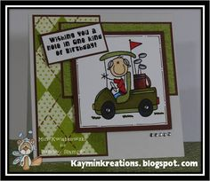 Manly Birthday Card, Golf Style by Bugaboo Stamps, created by Min @ Kaymin Kreations.