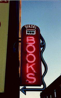 Diesel Books ~ Cool Old Neon Sign...gotta love the figural Gas Pump!