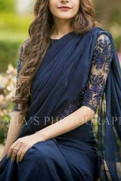 Lovely pairing of a Saree with a net blouse Indian Saris CLICK VISIT link for more details Elegant Indian Saree Click above VISIT link for Trendy Sarees, Stylish Sarees, Fancy Sarees, Saris Indios, Sarees For Girls, Netted Blouse Designs, Modern Saree, Saree Trends, Bandeau Outfit