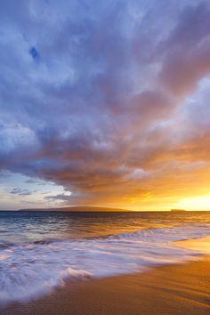 ~~Makena Beach Sunset ~ waves washing over golden sand, Maui, Hawaii by Quincy Dein~~