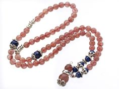 Pretty Three Strands Round Strawberry Crystal Bracelet With Lapis Beads And Tibet Silver Accessory---$11.97