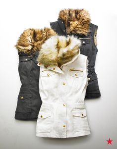 Impress your sister when you give her this cool convertible vest from INC International Concepts for Christmas. Show off the three different ways she can wear it, thanks to a removable faux-fur collar and interior.