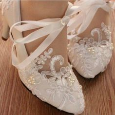 Lace Pearls Pointed Toes Women Wedding Shoes With Ribbons Lace Up, S01 – LoverBridal
