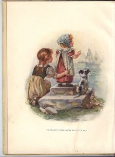 PICTURE PAGES little girls show a picture of a cat to two dogs on the seashore