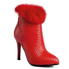 50.59$  Buy now - http://dio26.justgood.pw/go.php?t=203176406 - Faux Fur Embossed Stiletto Heel Ankle Boots