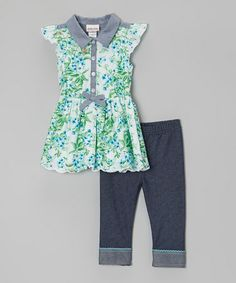 Take a look at this Green & Blue Floral Tunic & Jeggings - Toddler & Girls by Little Lass on #zulily today!