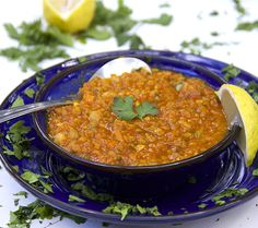 Vegetarian Moroccan lentil soup - high protein lentils and chickpeas, lots of healthy veggies, herbs and fragrant spices. Add a salad for a full meal.