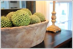 Having a little spot of greenery in every room is suggested and these balls placed in a bowl does just the trick!