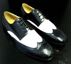 La Milano Men's Leather Wing Tip Oxford Lace Up Dress Shoes F590 Black and White | eBay