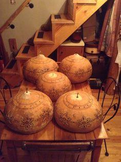 Bushel basket gourd swag hanging lamp lights in the making