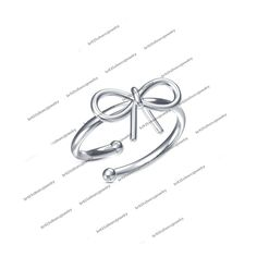 Ladies Special 14Kt White Gold Plated in 925 Sterling Silver Bow Adjustable Ring #br925 #BowAdjustableRing