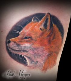 fox tattoo #fox #foxtattoo #colourtattoo #realistictattoos #animaltattoos #damageink #damageinkorporated #raultat2s