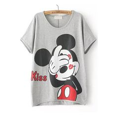 Grey Short Sleeve Kiss Mickey Print T-Shirt (26 BAM) ❤ liked on Polyvore featuring tops, t-shirts, sheinside, short sleeve t shirts, gray top, pattern tops, print tees and grey top