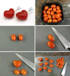 Cortando tomatinhos em formato de coração #love #tomatos #food #eat