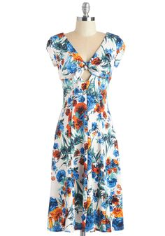 In the Spring of Things Dress. Embody the rejuvenating springtime air by styling yourself in this floral swing dress from Bettie Page! #multi #modcloth