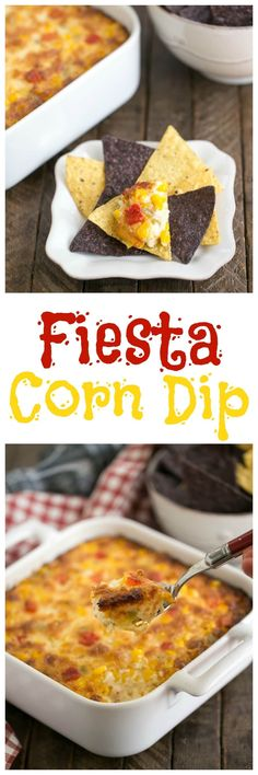 Fiesta Corn Dip | With a double dose of gooey cheese, you'll want to serve this magnificent dip at every gathering! @lizzydo