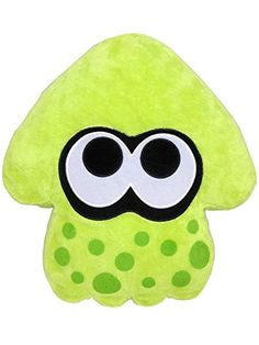 "Sanei Splatoon Series Lime Green Splatoon Squid Cushion 14"" Plush"