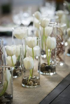 Vases Filled with White Tulips Whimsical Branches & Paper DIY Wedding Inspiration Photographer: IJ Photo Diy Wedding Flower Centerpieces, Diy Wedding Flowers, Diy Flowers, Simple Centerpieces, Table Flowers, Wedding Tulips, Flowers Vase, Centerpiece Flowers, Diy Wedding Table Decorations