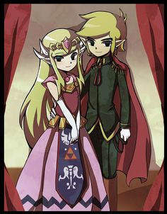 The royal couple based on The Wind Waker.  Awe, Princess Zelda (Tetra) and Link are all grown up and have established the new Hyrule.