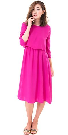 Modest crop top midi dress with 3/4 sleeves in pink